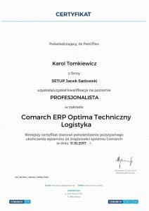 KT-COMARCH ERP Optima Techniczny - Logistyka - poziom Profesjonalista