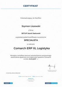 Szymon Liszewski_COMARCH ERP XL Logistyka - poziom Specjalista